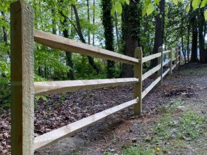 Wood Post and Rail Fence in Richmond Virginia